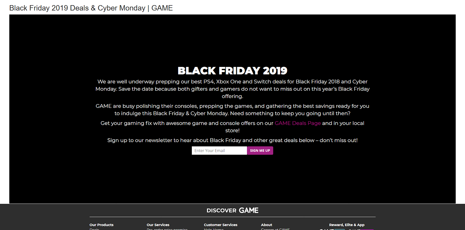 black friday website preview by ecommerce site
