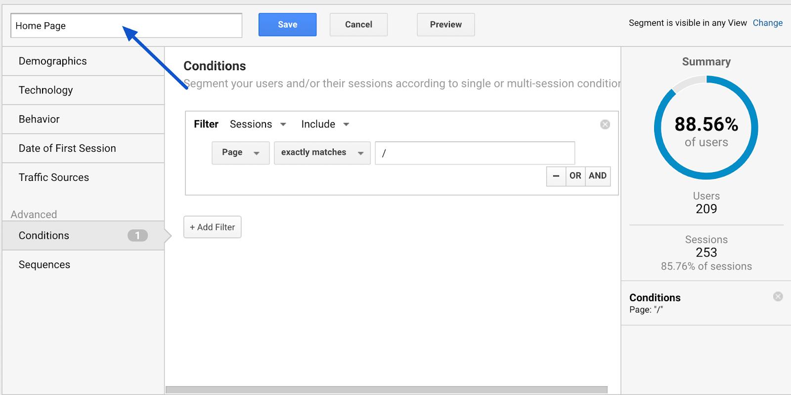google analytics name segment