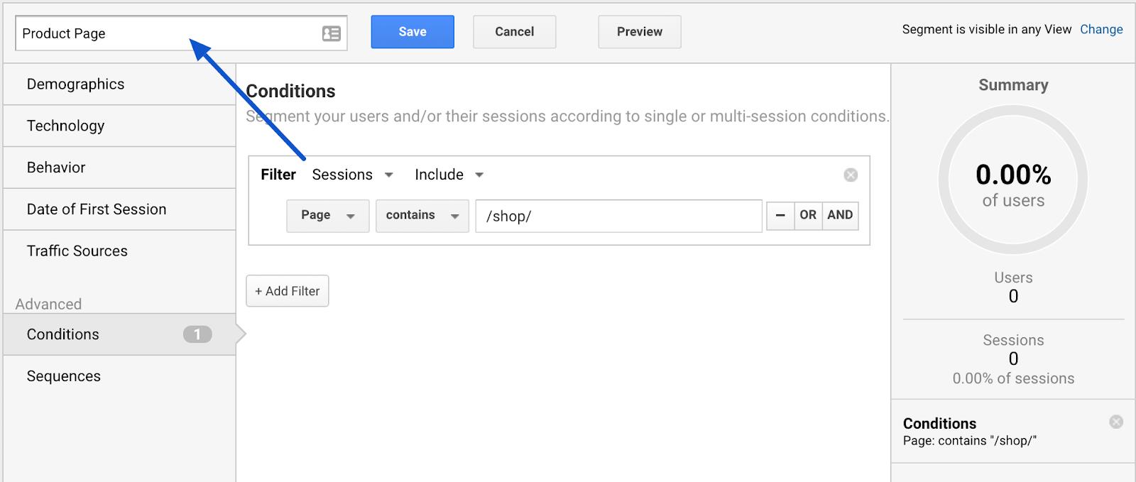 name custom segment in google analytics