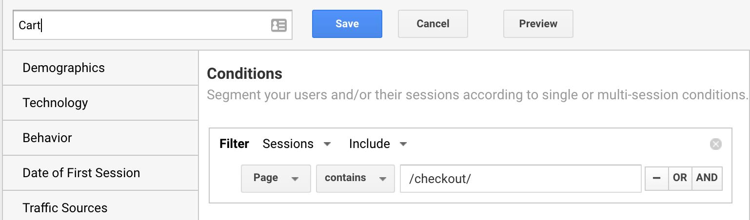 create new segment in google analytics using page url