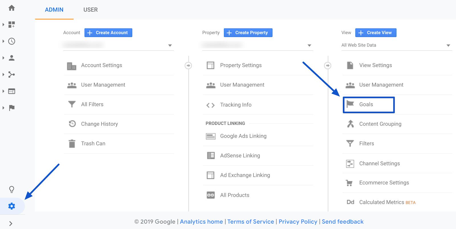 google analytics set up goals under admin