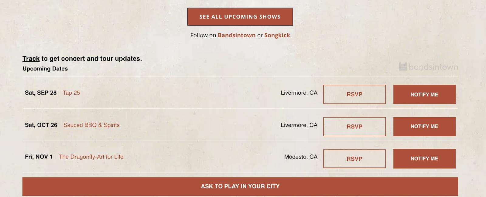 display tour on music website