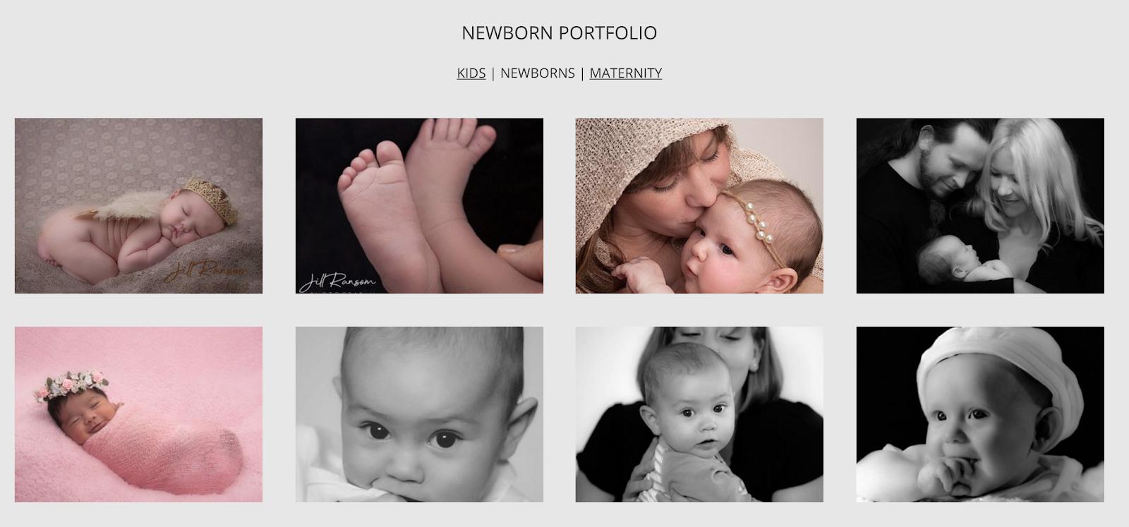 portfolio example on photography website