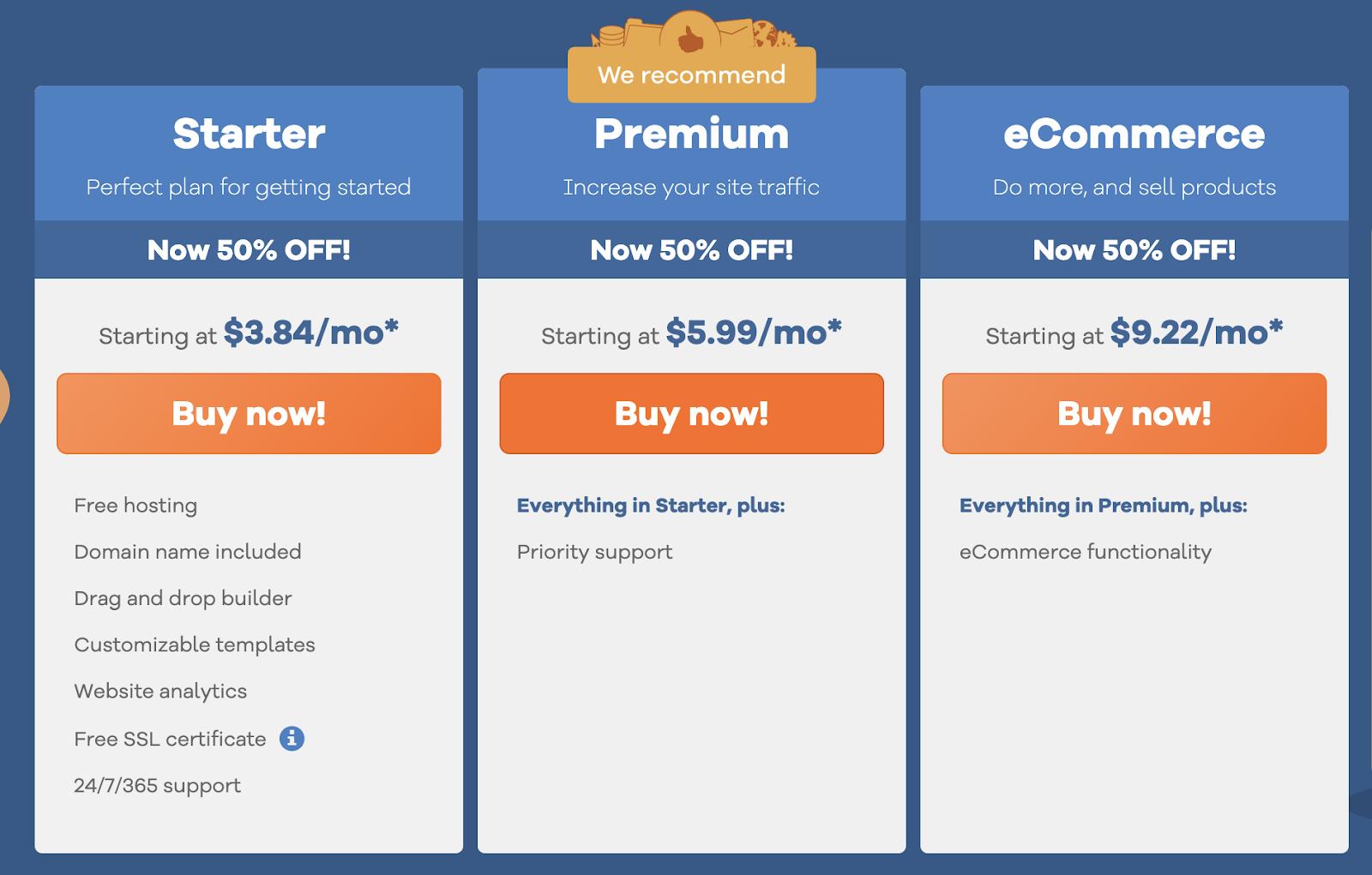 hostgator website builder pricing plans