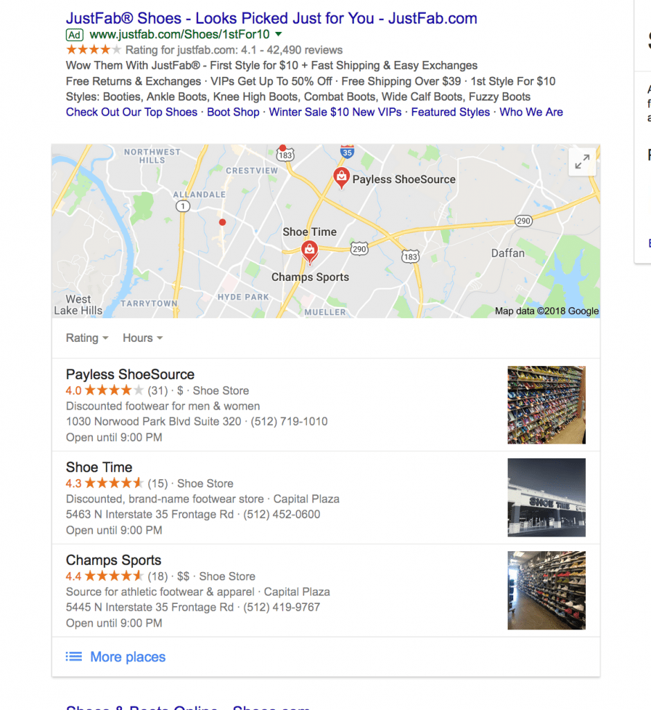 example of local map 3-pack snippet rich result in google
