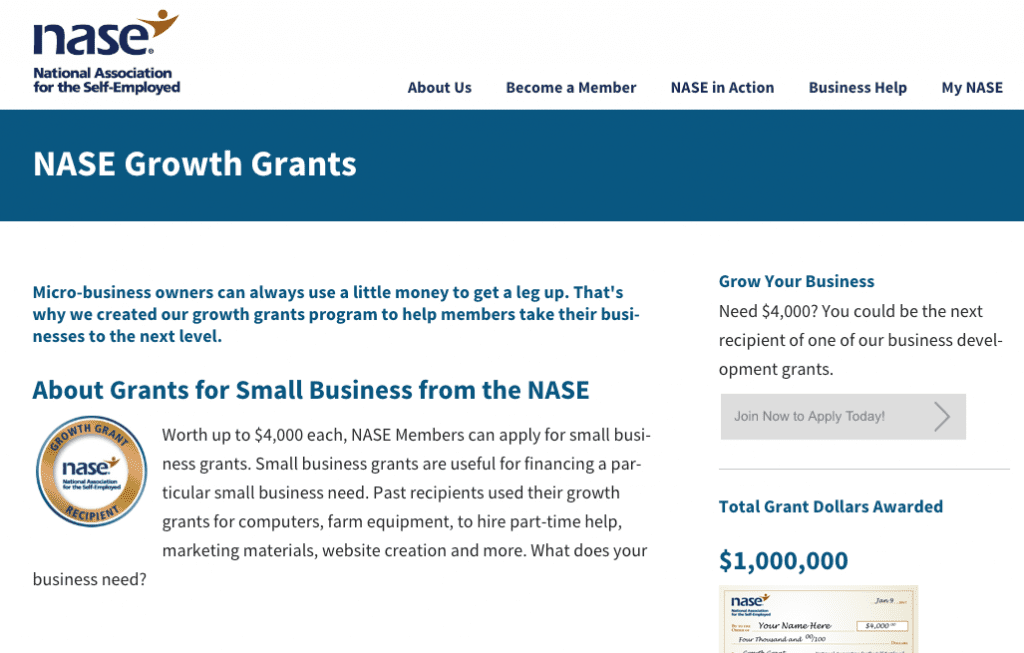 national association for the self employed business grant