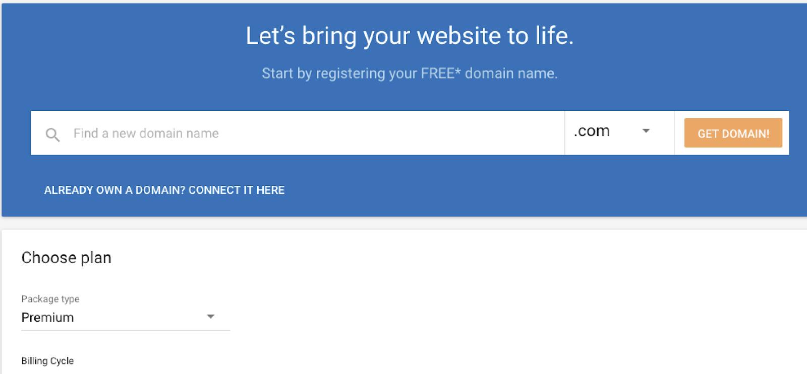 register domain name with gator website builder