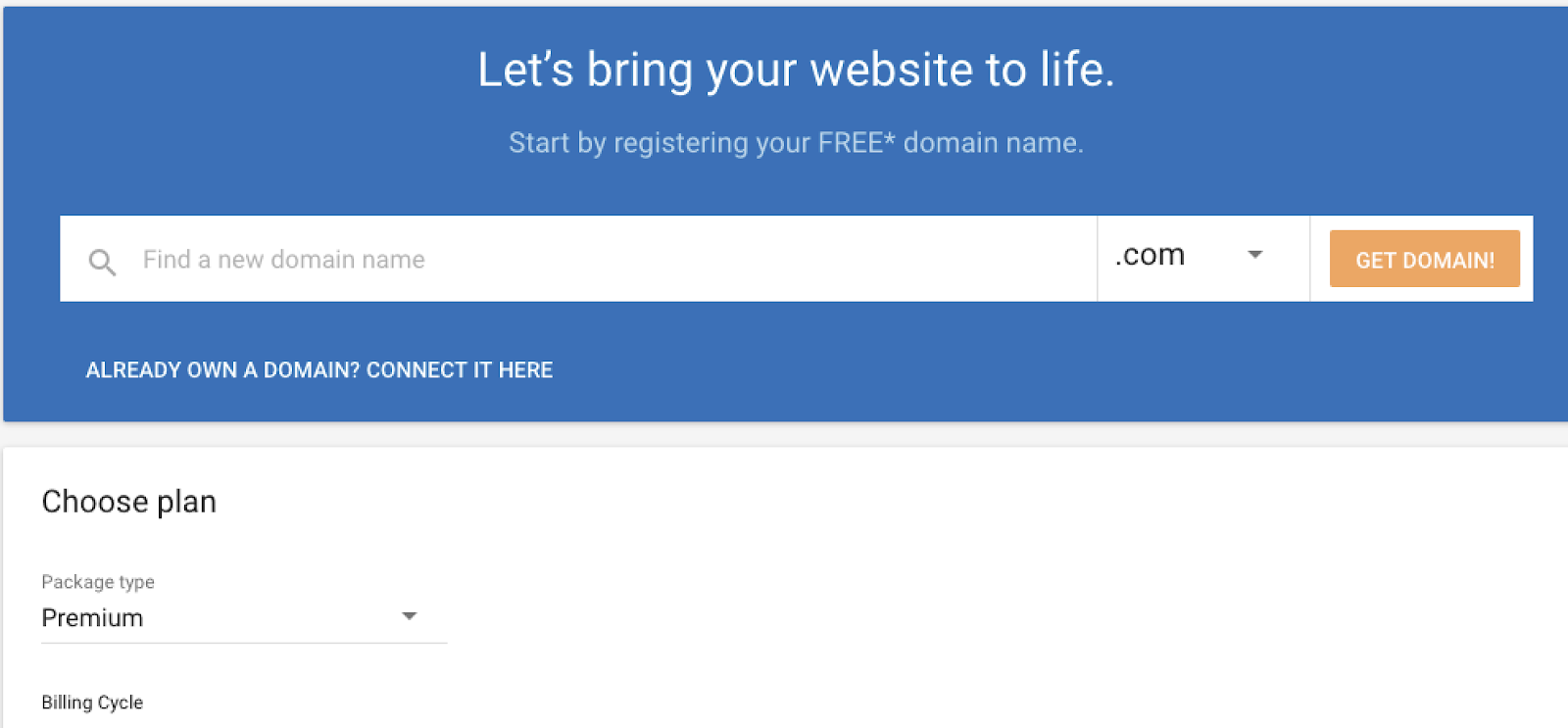buy domain name with gator website builder