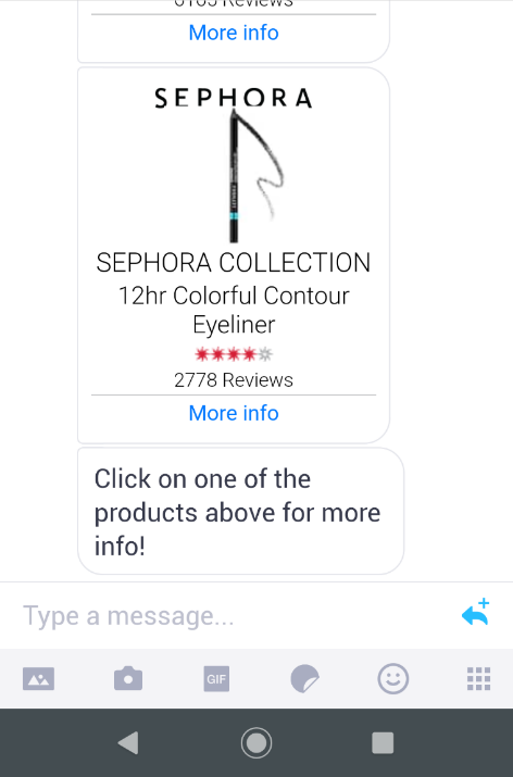 sephora chatbot suggests products