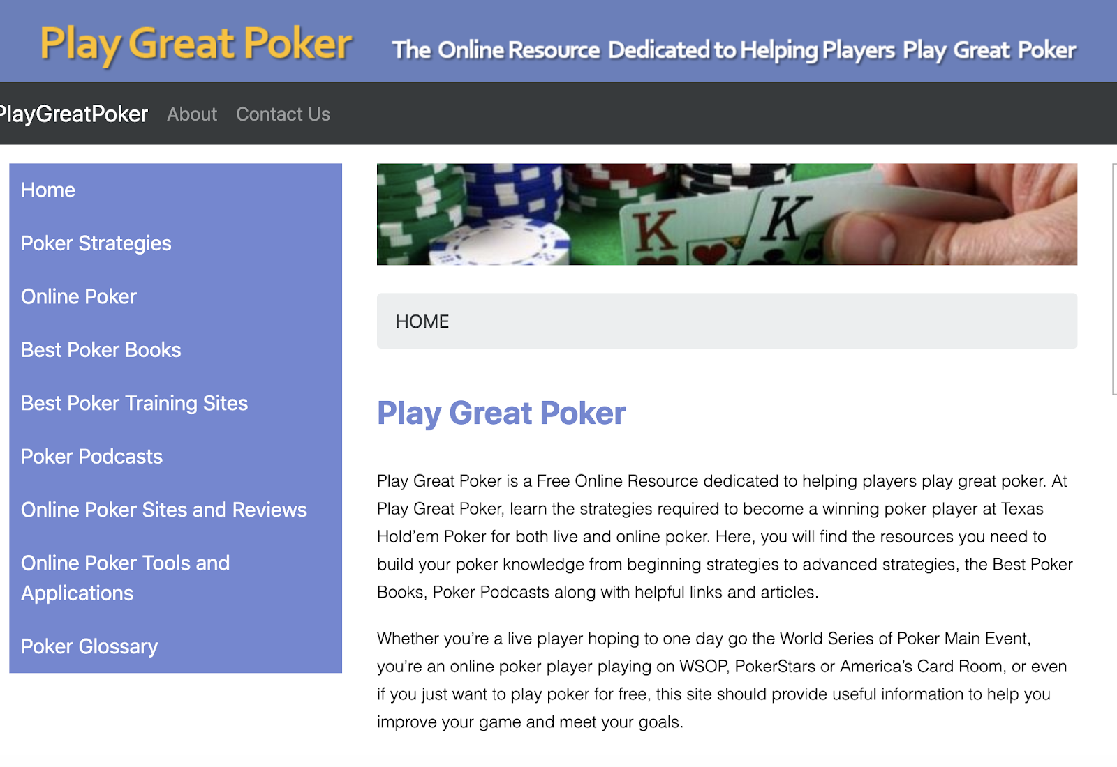 play great poker author used website to promote book