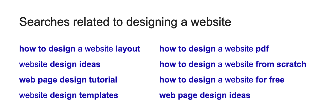example of related searches for designing a website