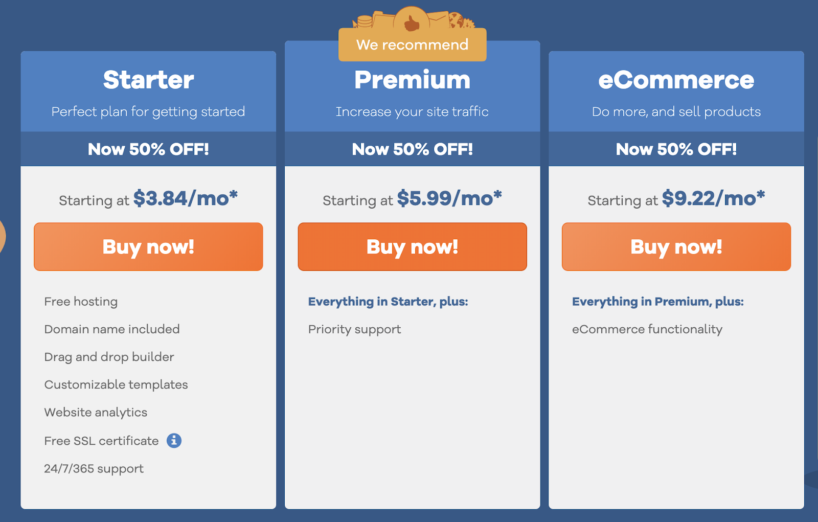 hostgator website builder plans and pricing