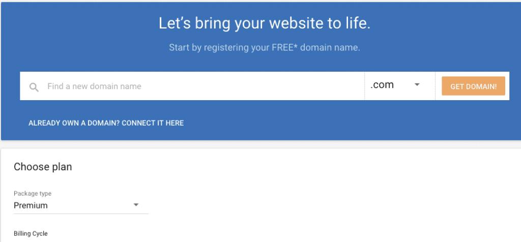 select domain name with hostgator website builder