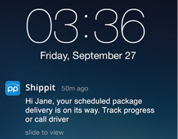 ecommerce order tracking push notification on smartphone