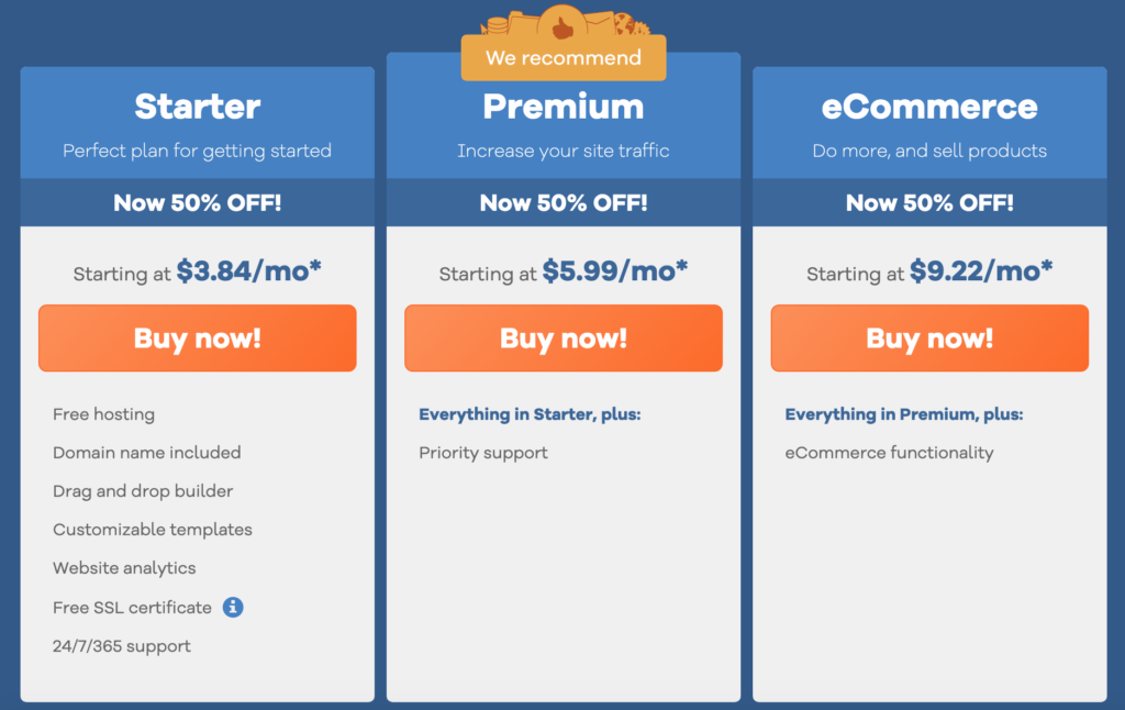 hostgator website builder pricing