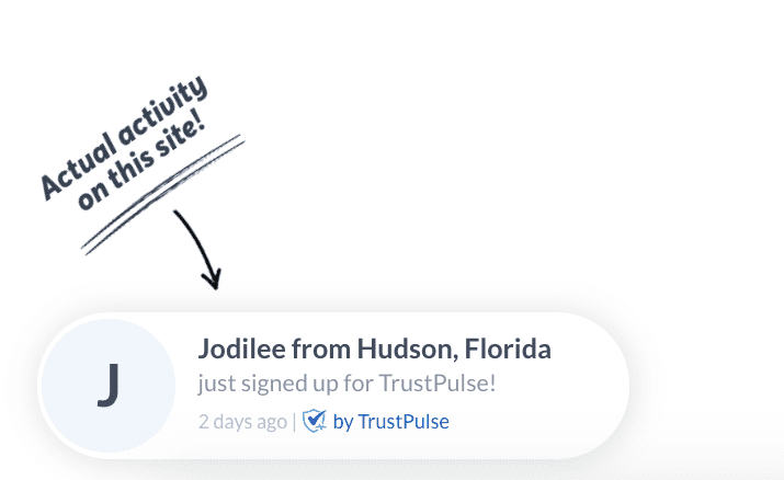 example of trustpulse social proof plugin for live sales popups