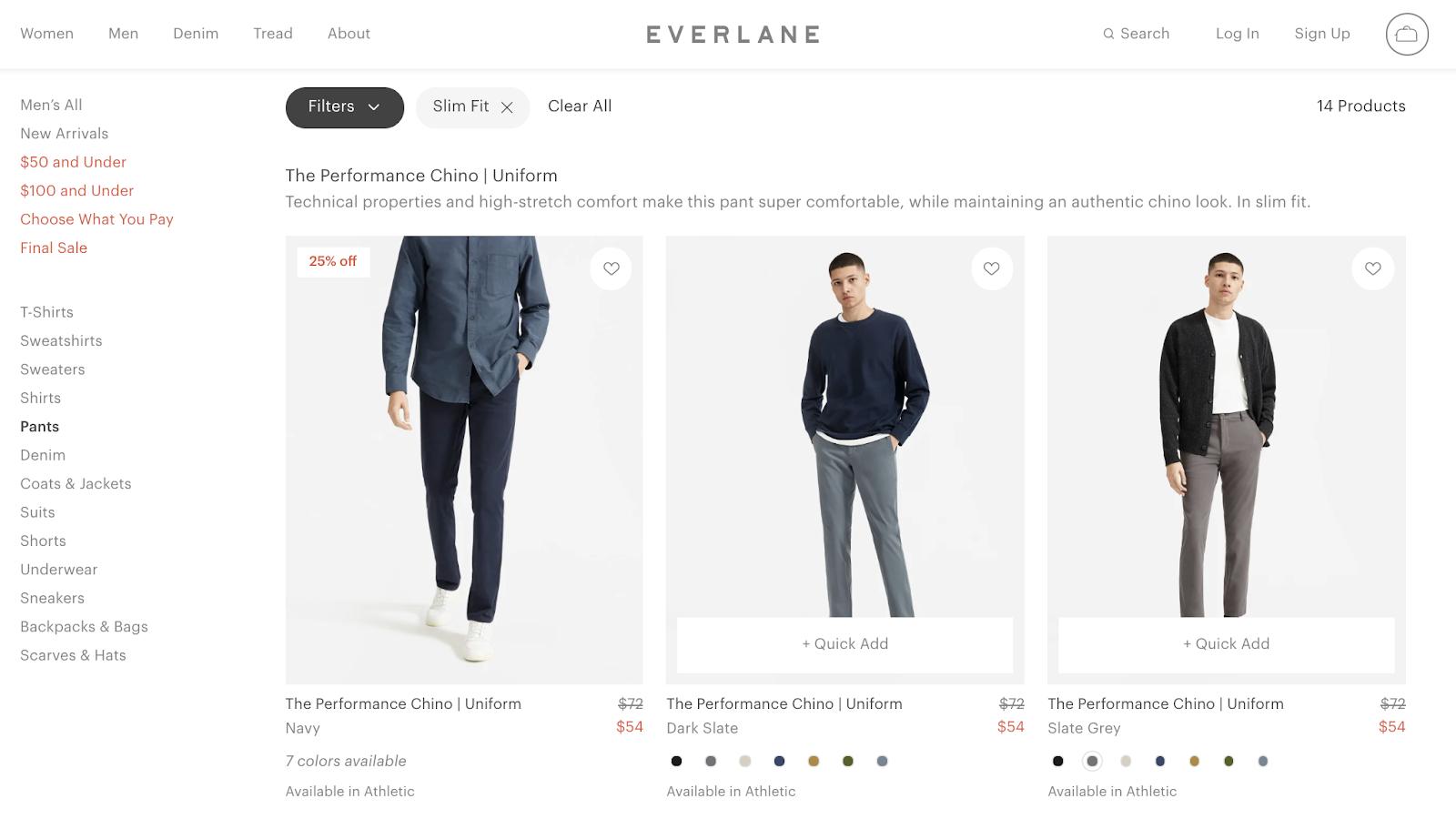 everlane product photos on ecommerce website