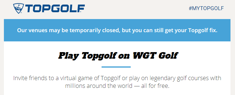 topgolf email announcement for virtual games during social distancing