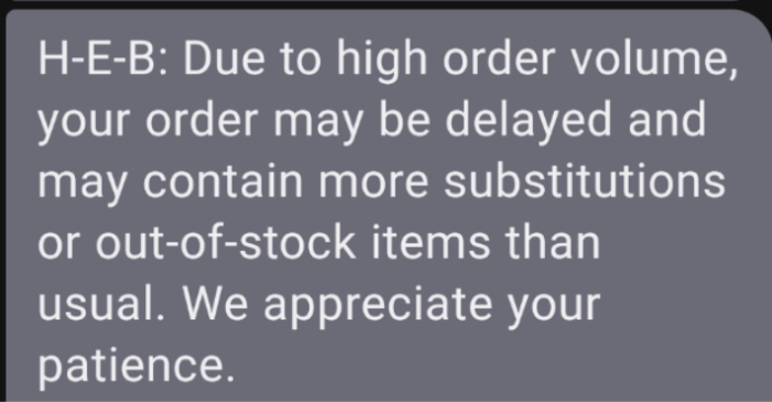 SMS text update from grocery store regarding out of stock items during coronavirus
