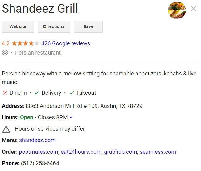google my business profile update for delivery and takeout during coronavirus outbreak