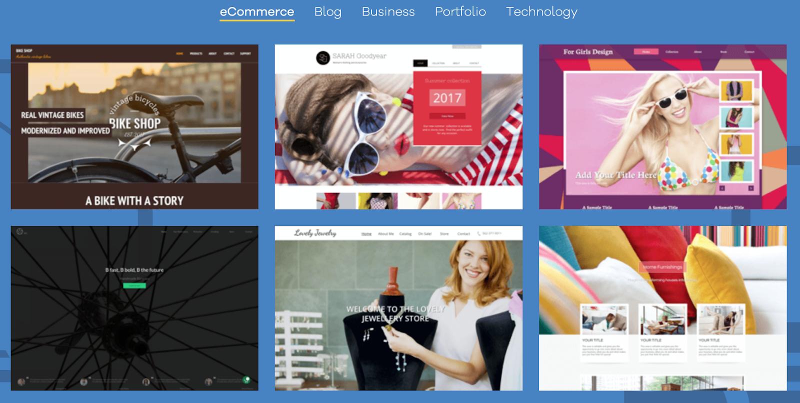 ecommerce website builder templates