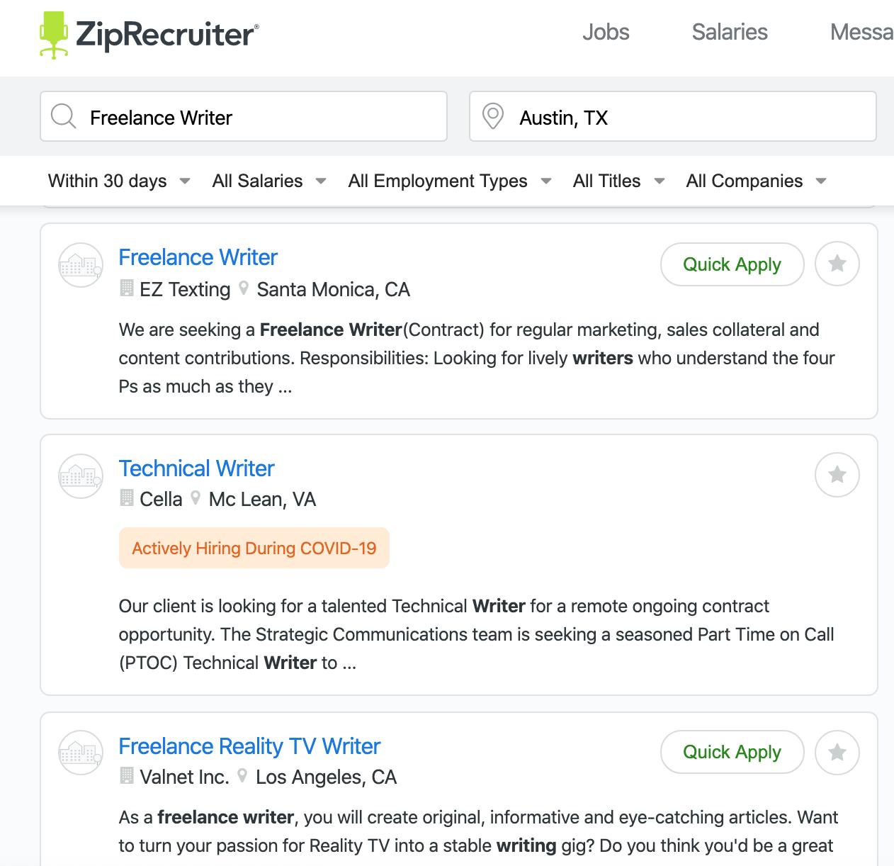 freelance writing job postings on ziprecruiter