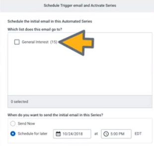 select subscriber list for email drip campaign in constant contact