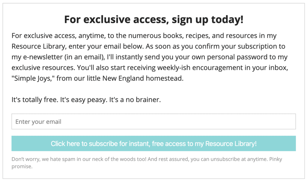newsletter subscription in exchange for free content
