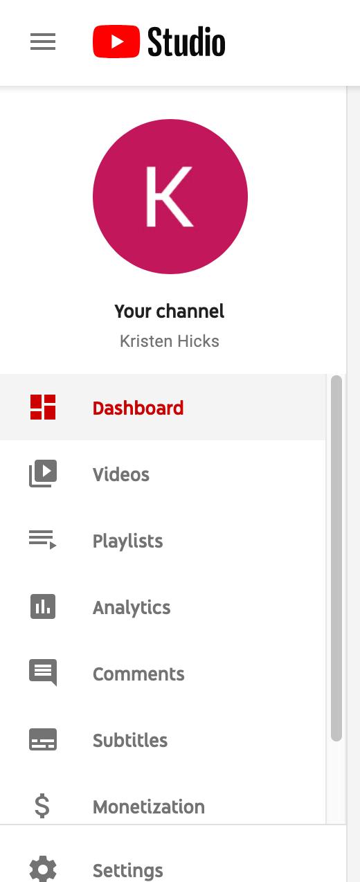 youtube studio menu