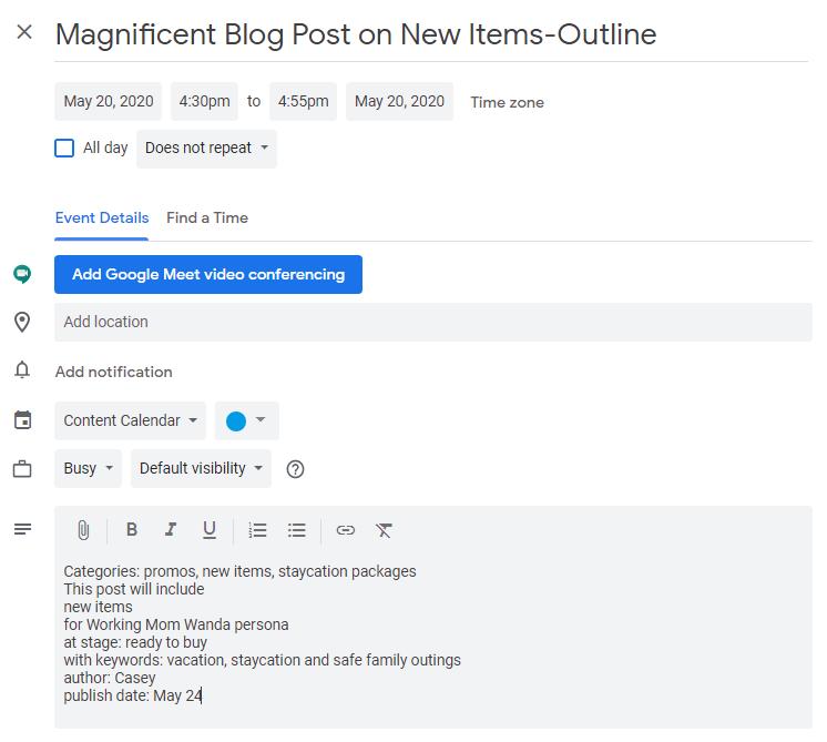 how to create new content calendar in google calendar
