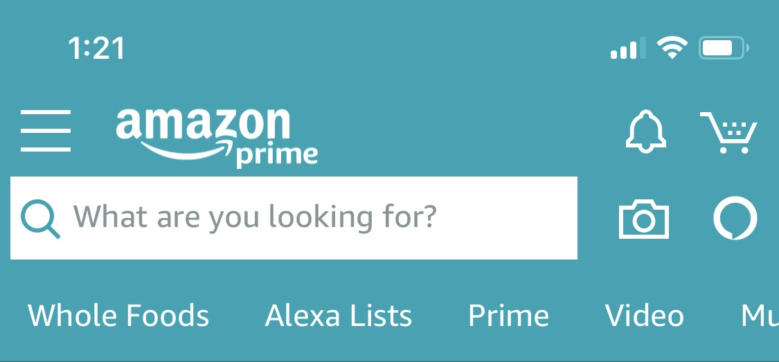 search bar on amazon mobile app