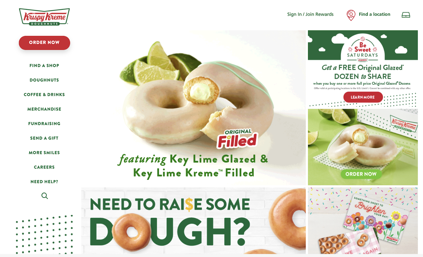 desktop version of krispy kreme website