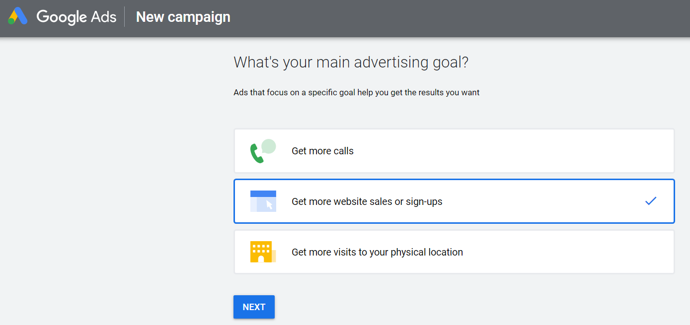 choose advertising goal when setting up new google ad campaign