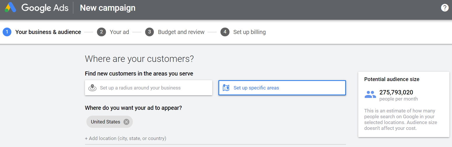 setup audience targeting by location in google ads