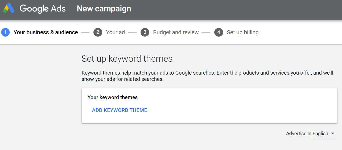 set keyword themes in google ads