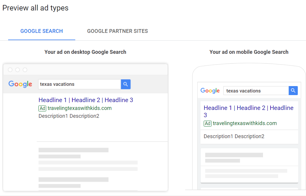 preview your google ad on mobile and desktop before launching campaign