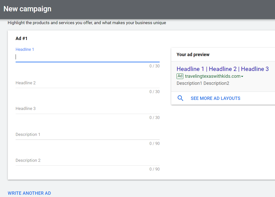 add headlines and descriptions for first google ad
