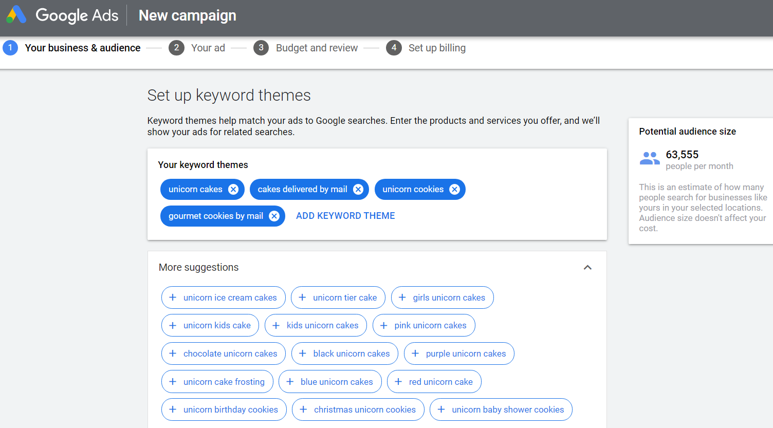 google ads shows related keyword themes when setting up an ad