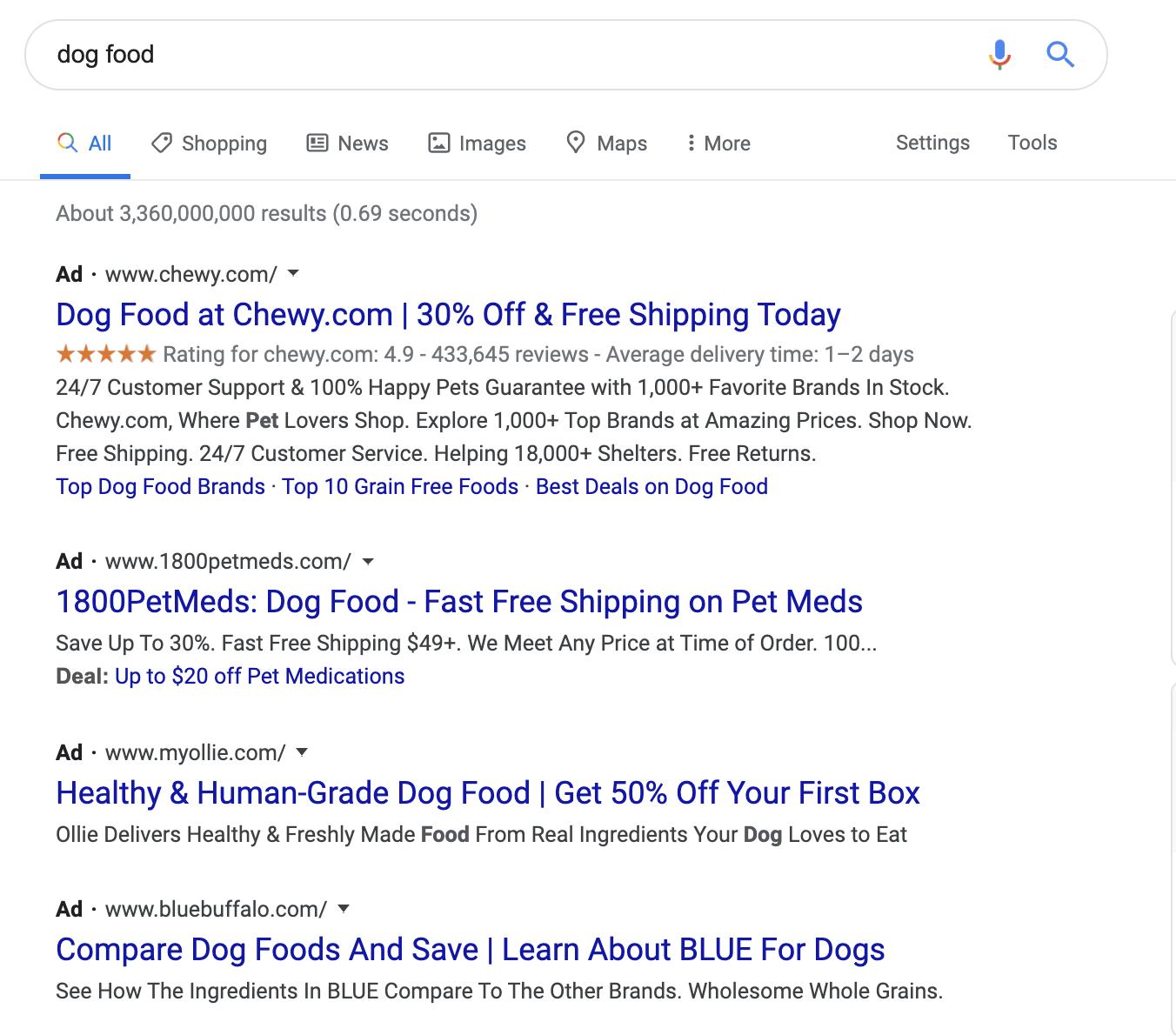 google ads listing