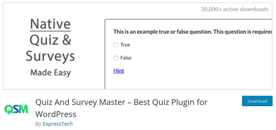 quiz and survey master plugin for wordpress