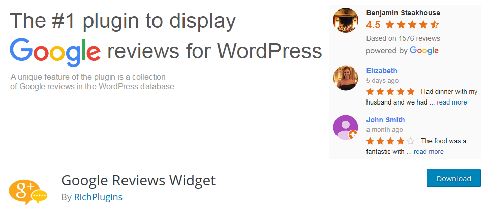 google reviews widget for wordpress