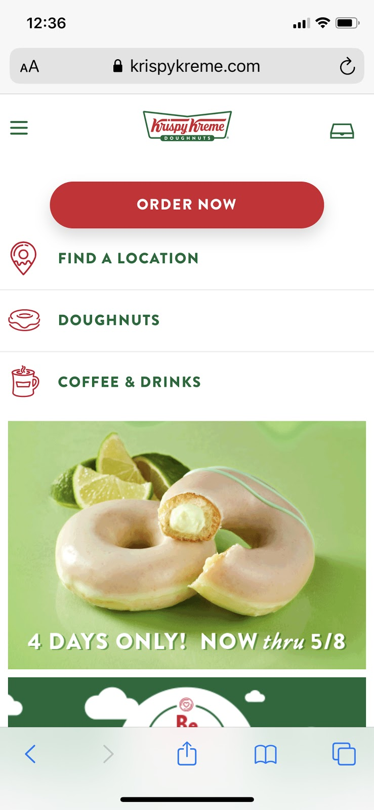 mobile version of krispy kreme website