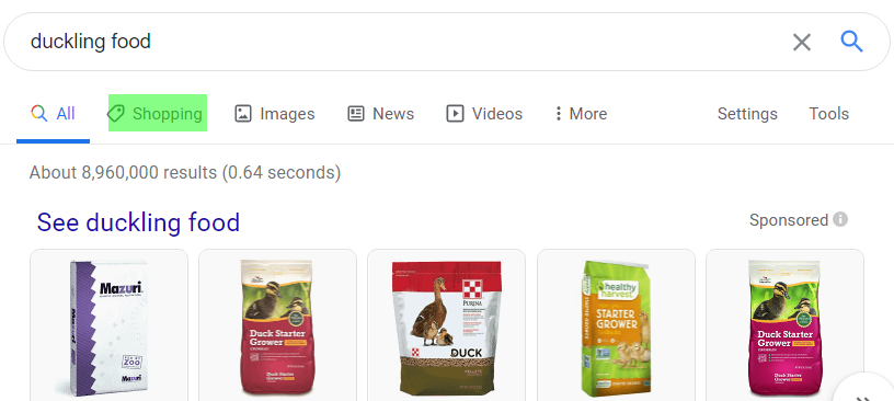 example of  google shopping results