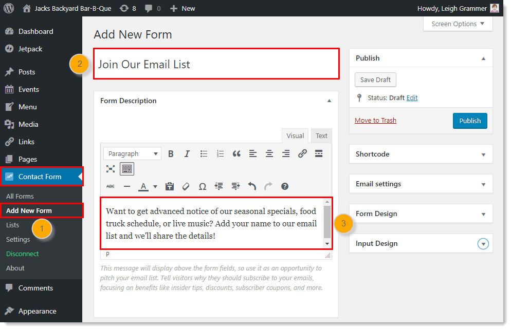 add new email subscriber signup form with constant contact plugin in wordpress