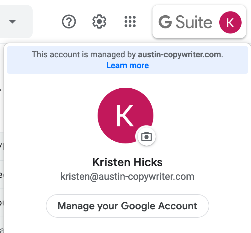 manage your google account button