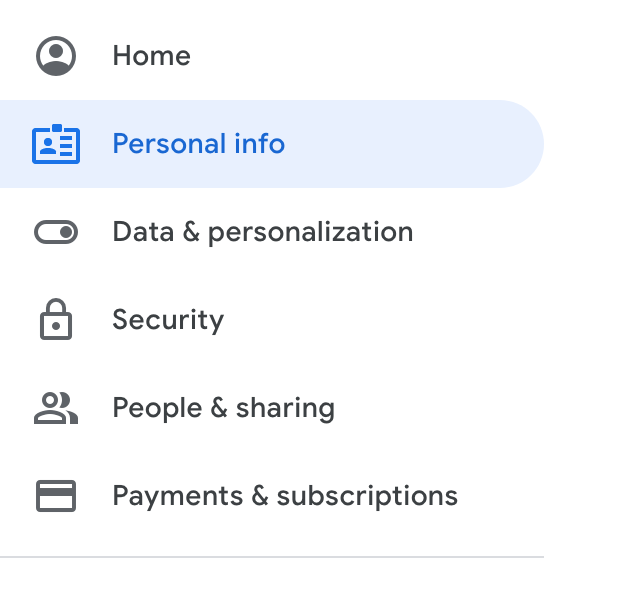 edit personal info for g suite account
