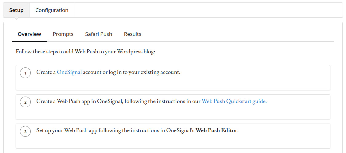 configure automatic notifications with onesignal wordpress plugin for push notifications