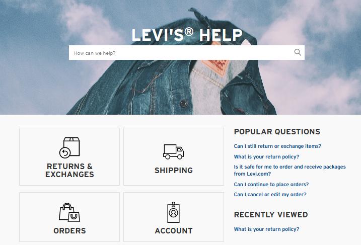 levis ecommerce faq page