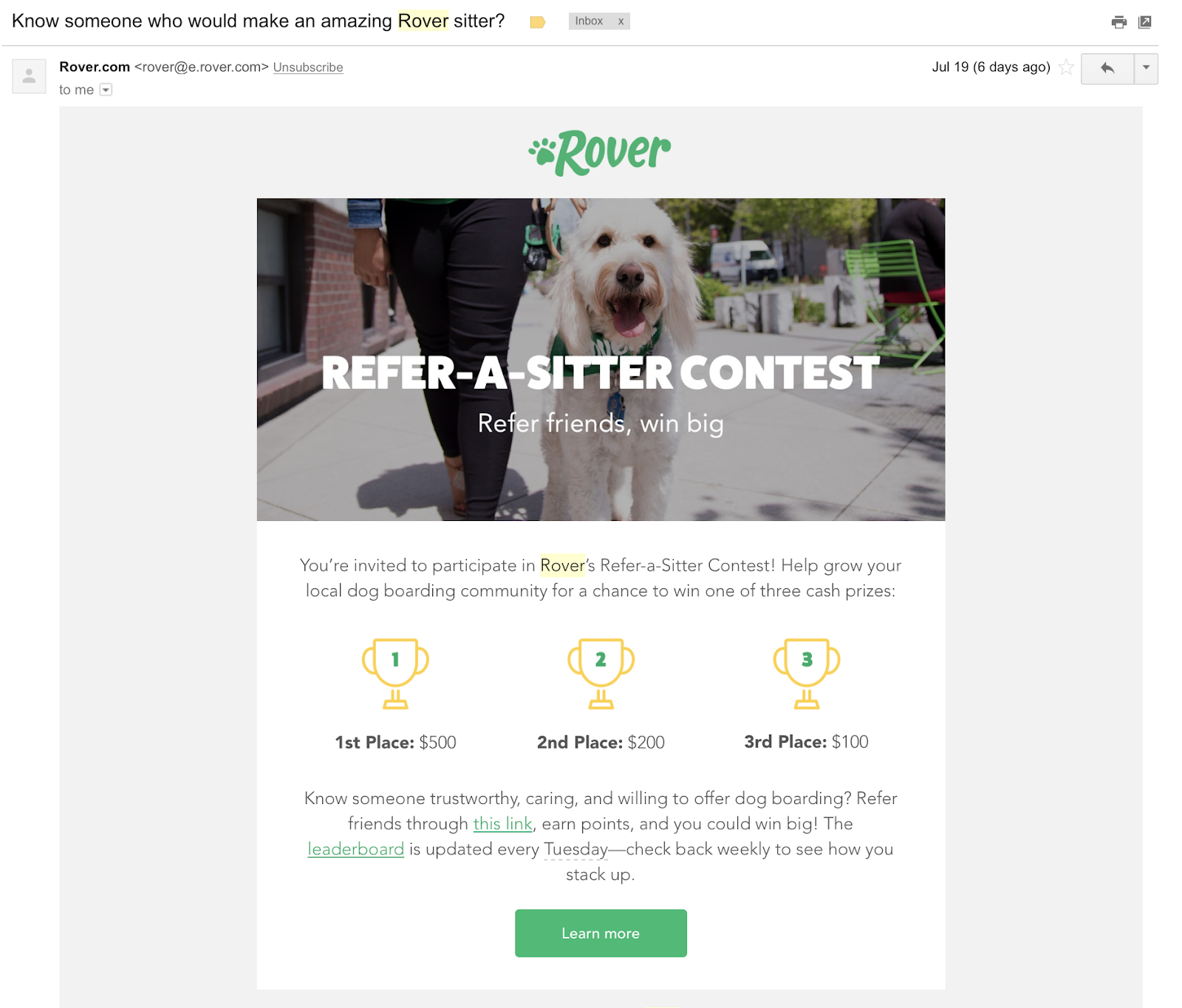 rover customer referral email