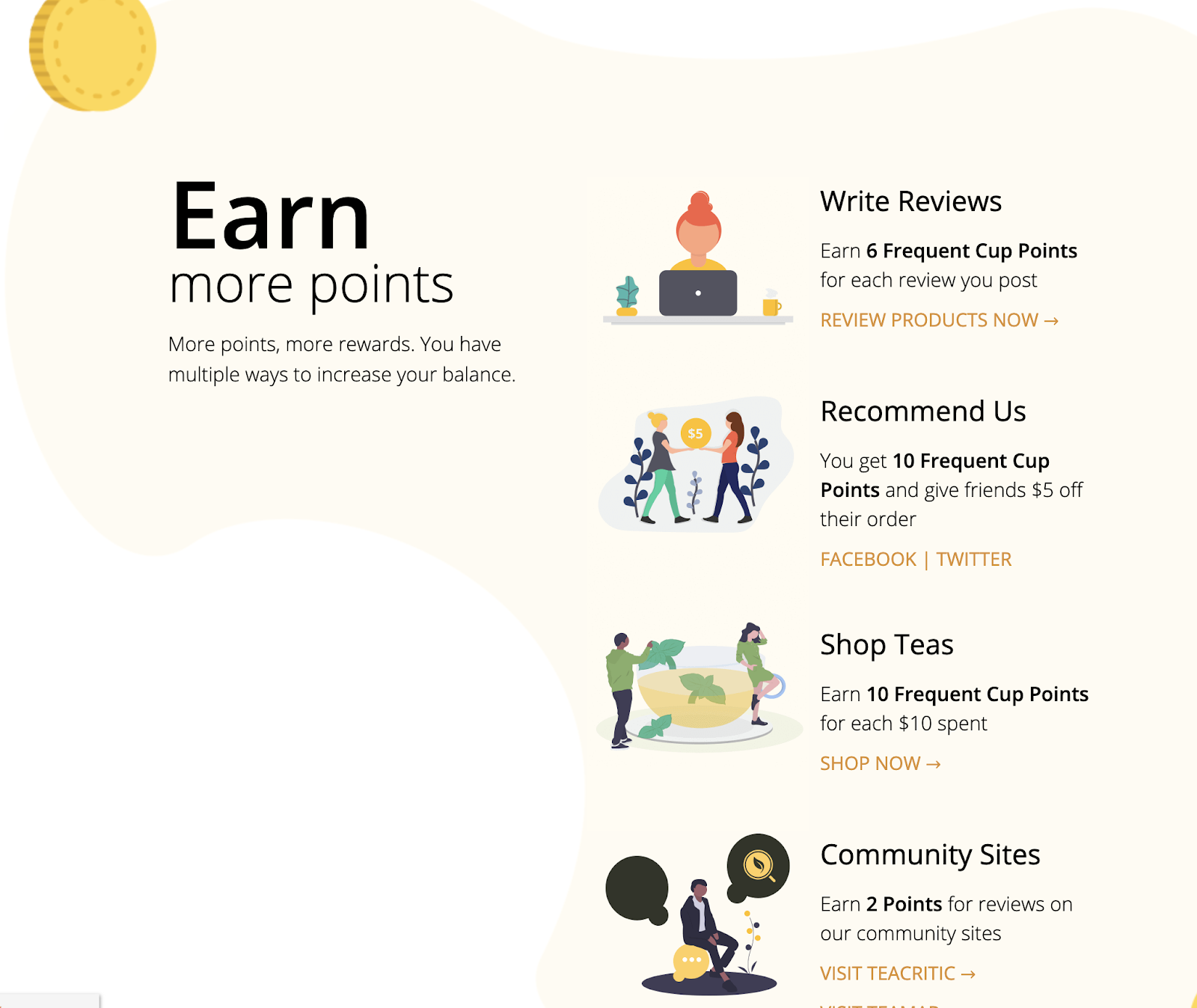 adagio customer referral points earning activities